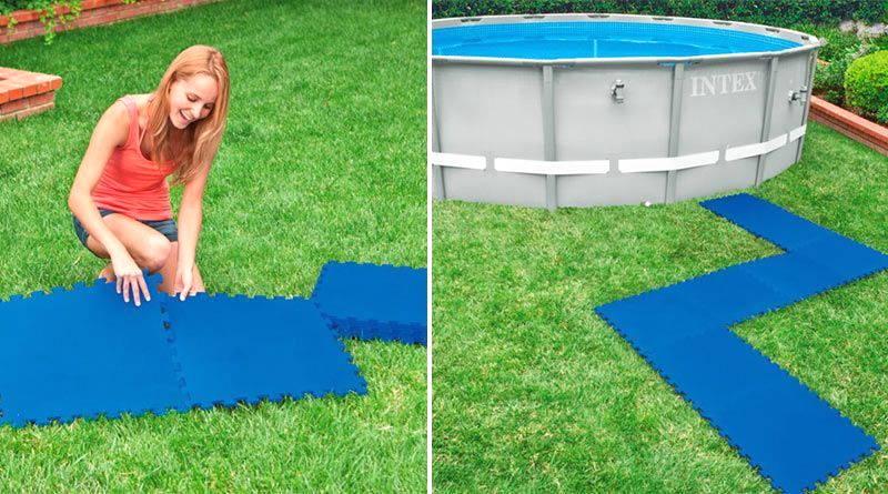 colocar protector de suelo para piscina